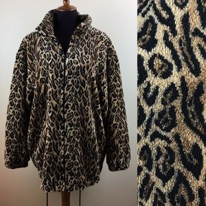 Vintage leopard print furry fleece zip up jacket